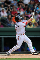 Catcher Tim Roberson (15) of the Greenville Drive bats in a game against the Lexington Legends on Friday, August 18, 2013, at Fluor Field at the West End in Greenville, South Carolina. Lexington won, 5-0. (Tom Priddy/Four Seam Images)