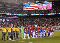 EAST RUTHERFORD, NJ - SEPTEMBER 7: USMNT during the singing of the National Anthem during a game between Mexico and USMNT at MetLife Stadium on September 6, 2019 in East Rutherford, New Jersey.