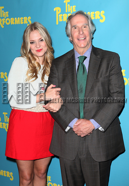 "Actress Jenni Barber and actor Henry Winkler attends press event to introduce the cast and creators of the new Broadway play ""The Performers""at the Hard Rock Cafe on Tuesday, Sept. 25, 2012 in New York."