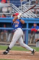 Auburn Doubledays third baseman Carlos Lopez #20 during a game against the Batavia Muckdogs at Dwyer Stadium on June 18, 2012 in Batavia, New York.  Auburn defeated Batavia 6-5.  (Mike Janes/Four Seam Images)