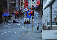 Ghuznee St at 8am during Level 4 lockdown for the COVID-19 pandemic in Wellington, New Zealand on Monday, 23 August 2021.