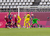 KASHIMA, JAPAN - AUGUST 5: Adrianna Franch #18 of the USWNT looks to the ball during a game between Australia and USWNT at Kashima Soccer Stadium on August 5, 2021 in Kashima, Japan.