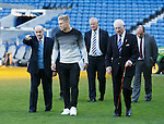 Johnny Hubbard explaining the finer points of putting away a penalty kick at the away end of the vast terraced bowl that was the Ibrox Park of his playing days at Rangers, Team mate Harold Davis joins Johnny and Martyn for a stroll onto the pitch.