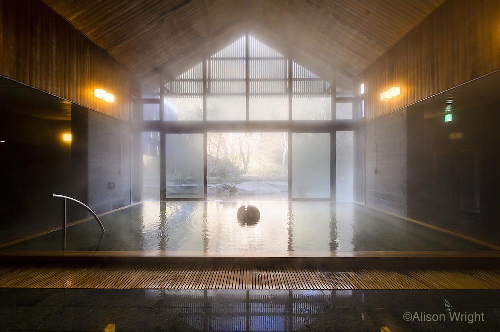 Japan, Hoshinoya Karuizawa luxury resort at the foot of Mt. Asam. MIneral baths and spa.