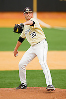 Wake Forest Demon Deacons starting pitcher Justin Van Grouw #30 in action against the Virginia Tech Hokies at Wake Forest Baseball Park on April 21, 2012 in Winston-Salem, North Carolina.  The Demon Deacons defeated the Hokies 8-6.  (Brian Westerholt/Four Seam Images)