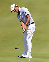 16th July 2021; Royal St Georges Golf Club, Sandwich, Kent, England; The Open Championship Tour Golf, Day Two; Collin Morikawa (USA) putts for birdie on the 17th