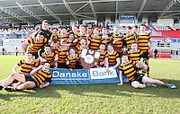 MEDALLION SHILED FINAL   Monday 10th March 2015<br /> <br /> RBAI celebrate with the Medallion Shield after the 2015 Ulster Schools Medallion Shield Final at the Kingspan Stadium, Ravenhill Park, Belfast.<br /> <br /> Picture credit: John Dickson / DICKSONDIGITAL