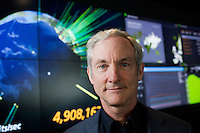 Tom Leighton is a professor at MIT's Department of Applied Mathematics and CEO and co-founder of Akamai Technologies, a Cambridge-based internet content delivery network company.  Leighton is photographed here in the offices of Akamai Technologies near Kendall Square, Cambridge, Massachusetts, USA.