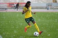 20190227 - LARNACA , CYPRUS : South African midfielder Linda Mothalo pictured during a women's soccer game between the South African Banyana Banyana and Finland , on Wednesday 27 February 2019 at the GSZ Stadium in Larnaca , Cyprus . This is the first game in group A for both teams during the Cyprus Womens Cup 2019 , a prestigious women soccer tournament as a preparation on the Uefa Women's Euro 2021 qualification duels and the Fifa World Cup France 2019. PHOTO SPORTPIX.BE | STIJN AUDOOREN