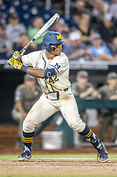 Michigan Wolverines designated hitter Jordon Nwogu (42) at bat against the Vanderbilt Commodores during Game 1 of the NCAA College World Series Finals on June 24, 2019 at TD Ameritrade Park in Omaha, Nebraska. Michigan defeated Vanderbilt 7-4. (Andrew Woolley/Four Seam Images)
