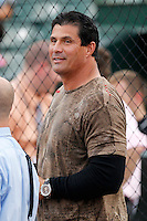 Former major leaguer Jose Canseco before throwing out the first pitch before a game between the Rochester Red Wings and Lehigh Valley IronPigs at Frontier Field on August 18, 2011 in Rochester, New York.  Lehigh Valley defeated Rochester 11-1.  (Mike Janes/Four Seam Images)