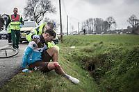Rudy Barbier (FRA/AG2R La Mondiale) after a peloton crash.<br /> <br /> <br /> 102nd Ronde van Vlaanderen 2018 (1.UWT)<br /> Antwerpen - Oudenaarde (BEL): 265km