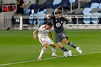 ST PAUL, MN - SEPTEMBER 06: Jose Aja #4 of Minnesota United FC dribbles the ball during a game between Real Salt Lake and Minnesota United FC at Allianz Field on September 06, 2020 in St Paul, Minnesota.