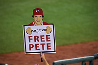 Fan holds a sign for Cincinnati Reds legend Pete Rose during the MLB All-Star Game on July 14, 2015 at Great American Ball Park in Cincinnati, Ohio.  (Mike Janes/Four Seam Images)