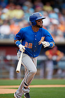 Durham Bulls Emilio Bonifacio (22) at bat during an International League game against the Toledo Mud Hens on July 16, 2019 at Fifth Third Field in Toledo, Ohio.  Durham defeated Toledo 7-1.  (Mike Janes/Four Seam Images)