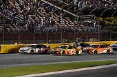 #2: Brad Keselowski, Team Penske, Ford Fusion Discount Tire, #18: Kyle Busch, Joe Gibbs Racing, Toyota Camry M&M's M&M's Red Nose Day, and #19: Daniel Suarez, Joe Gibbs Racing, Toyota Camry ARRIS