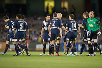 MELBOURNE, AUSTRALIA - OCTOBER 30: Victory players prepare to start the round 12 A-League match between the Melbourne Victory and Adelaide United at Etihad Stadium on October 30, 2010 in Melbourne, Australia.  (Photo by Sydney Low / Asterisk Images)