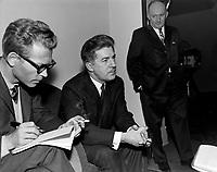 Elections Federales - Le nouveau depute de la circonscription de Quebec-Ouest, Jean Marchand<br /> , le 8 novembre 1965<br /> <br /> Photographe : Photo Moderne<br /> - Agence Quebec Presse