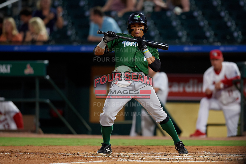 Daytona Tortugas second baseman Randy Ventura (1) avoids an inside pitch during a Florida State League game against the Palm Beach Cardinals on April 11, 2019 at Roger Dean Stadium in Jupiter, Florida.  Palm Beach defeated Daytona 6-0.  (Mike Janes/Four Seam Images)