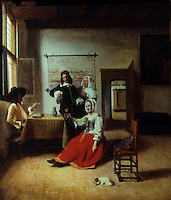 P. de Hooch 1629-1684.  La Buveuse, 1658.   Louvre.  Reference only.