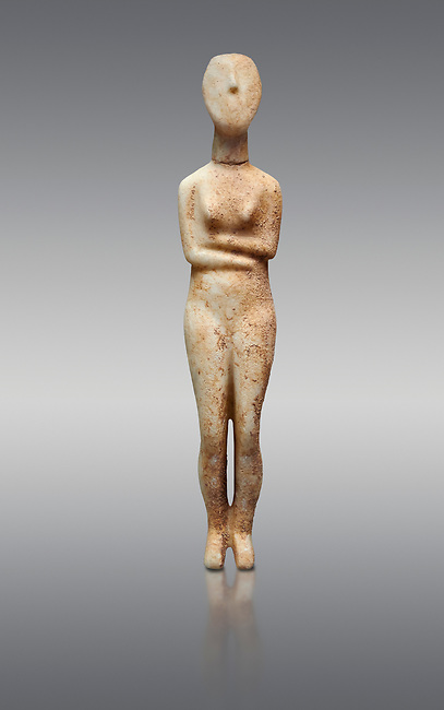 Marble female Cycladic statue figurine with folded arms of the Spedos type. Early Cycladic Period II (2800-2300 BC) from Stavros cemetery, Amorgos, grave 5, Cat No 4719. National Archaeological Museum, Athens.   Grey background.<br /> <br /> <br /> This Cycladic statue figurine is of the Spedos type standing on tip tie with bended knees and arms folded under the breasts with head raiised.
