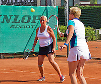 Netherlands, Amstelveen, August 23, 2015, Tennis,  National Veteran Championships, NVK, TV de Kegel,  Final lady's double 55+, Josephine van der Stroom (L) and her partner Lievers-Kronenburg<br /> Photo: Tennisimages/Henk Koster