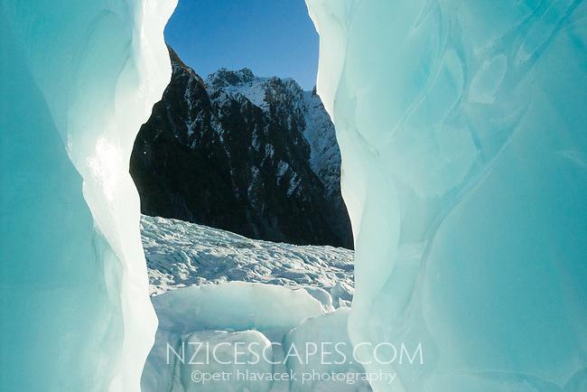 Ice features on Franz Josef Glacier, Westland Tai Poutini National Park, West Coast, UNESCO World Heritage Area, New Zealand, NZ