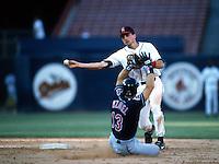 Gary DiSarcina of the California Angels at Anaheim Stadium in Anaheim,California during the 1996 season. (Larry Goren/Four Seam Images)