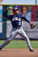 Miguel Rojas (11) of the New Orleans Zephyrs throws to first base against the Iowa Cubs at Principal Park on April 23, 2015 in Des Moines, Iowa.  The Zephyrs won 9-2.  (Dennis Hubbard/Four Seam Images)