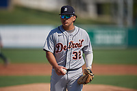 Detroit Tigers catcher Yoandy Rea (32) during practice before a Florida Instructional League intrasquad game on October 17, 2020 at Joker Marchant Stadium in Lakeland, Florida.  (Mike Janes/Four Seam Images)