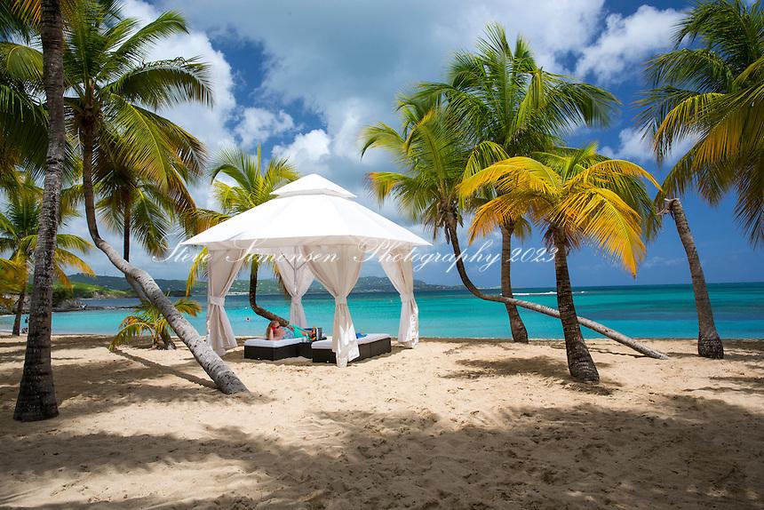 Cabana on the beach<br /> Mermaid Beach<br /> Buccaneer Hotel<br /> St. Croix<br /> U.S. Virgin Islands