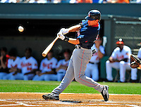 14 March 2009: Boston Red Sox' infielder Jed Lowrie hits an RBI double in the first inning of a Spring Training game against the Baltimore Orioles at Fort Lauderdale Stadium in Fort Lauderdale, Florida. The Orioles defeated the Red Sox 9-8 in the Grapefruit League matchup. Mandatory Photo Credit: Ed Wolfstein Photo