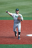 Aaron Bossi (17) of the Marshall Thundering Herd makes a throw to first base against the Charlotte 49ers at Hayes Stadium on April 23, 2016 in Charlotte, North Carolina. The Thundering Herd defeated the 49ers 10-5.  (Brian Westerholt/Four Seam Images)