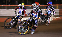 Heat 5: Kim Nilsson (red), Kelvin Tatum (yellow) and Adam Ellis (blue) - Lakeside Hammers v Rico's All Stars, The Rico Spring Classic at the Arena Essex Raceway, Pufleet - 20/03/15 - MANDATORY CREDIT: Rob Newell/TGSPHOTO - Self billing applies where appropriate - 0845 094 6026 - contact@tgsphoto.co.uk - NO UNPAID USE