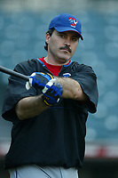Rafael Palmeiro of the Texas Rangers during a 2003 season MLB game at Angel Stadium in Anaheim, California. (Larry Goren/Four Seam Images)