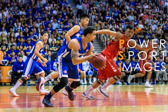 Marcus Ryan Elliott #2 of Eastern Long Lions (L) in action during the Hong Kong Basketball League 2018 match between SCAA v Eastern Long Lions on August 10, 2018 in Hong Kong, Hong Kong. Photo by Marcio Rodrigo Machado/Power Sport Images