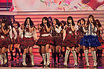 """Dec. 31, 2009 - The all female Japanese theater and idol group, AKB48, rehearses on stage during the last day of rehearsals for 'Kohaku Uta Gassen,' or also more commonly known as 'Kohaku.' Produced by the Japanese public broadcaster, NHK, this annual music show airs on New Year's Eve and ends shortly before midnight, where everyone on air pauses to say """"Happy New Year."""" The 'Red and White Song Battle' separates the most popular music artists during each given year into teams of red and white: the red team consists of all female artists and the white team is all male artists. For an artist to perform on Kohaku, it is a great honor as only the most successful enka singers and J-Pop artist are strictly invited to perform by invitation only. Today, for a J-Pop artist or enka singer to perform on Kohaku, is most notably recognized to be a big highlight in a singer's career due to the show's large reach of audience during New Year's Eve."""