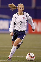 """USA's Heather Mitts. The US Women's National Team tied the Denmark Women's National Team 1 to 1 during game 8 of the 10 game the """"Fan Celebration Tour"""" at Giant's Stadium, East Rutherford, NJ, on Wednesday, November 3, 2004.."""
