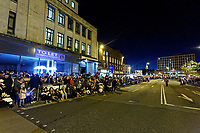 """Pictured: Locals line College Street to watch the Christmas parade in Swansea, Wales, UK. Sunday 19 November 2018<br /> Re: Swansea Christmas parade attended by thousands has been branded a """"shambles"""" for having just three floats.<br /> The annual festive event in south Wales, which took place on Sunday, promised """"dynamic dance-troupes"""" as well as """"spectacular shows and stages"""".<br /> But the parade was scaled down, leading to a barrage of criticism on social media because of roadworks in the city centre. <br /> The leader of Swansea Council, Rob Stewart apologised on Facebook and said the parade was not """"good enough"""".<br /> Parents took on social media to voice their anger, calling the event """"a load of rubbish"""" and claiming there was nothing for young children apart from """"a loud music float with Santa on""""."""