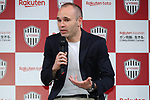 Vissel Kobe's new signing Andres Iniesta attends a press conference in Tokyo, Japan on Thursday, May 24, 2018. Barcelona legend playmaker announced he has signed with J-League first-division side Vissel Kobe. (Photo by Pasya/AFLO)