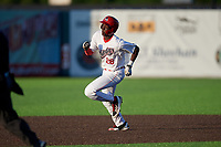 Auburn Doubledays Eric Senior (28) running the bases during a NY-Penn League game against the West Virginia Black Bears on August 23, 2019 at Falcon Park in Auburn, New York.  West Virginia defeated Auburn 8-1, the first game of a doubleheader.  (Mike Janes/Four Seam Images)