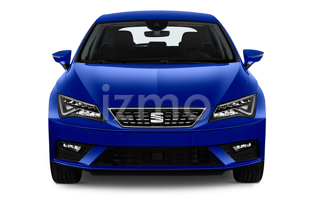 Car photography straight front view of a 2018 Seat Leon Xcellence 5 Door Hatchback
