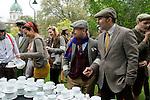 The Tweed Run London UK. Imperial War Museum gardens. Tea Stop.