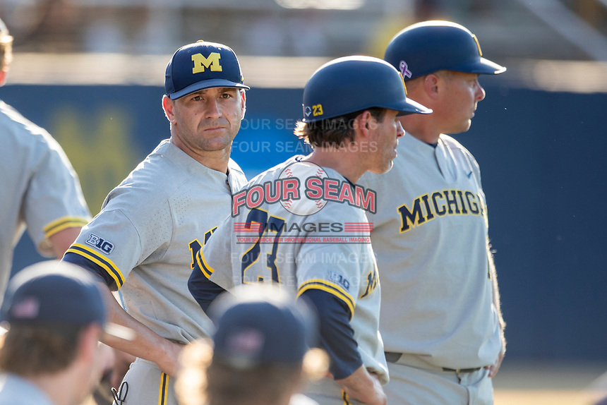 Michigan Wolverines head coach Erik Bakich (23) before the NCAA baseball tournament against the Connecticut Huskies on June 4, 2021 at Frank Eck Stadium in Notre Dame, Indiana. The Huskies defeated the Wolverines 6-1. (Andrew Woolley/Four Seam Images)