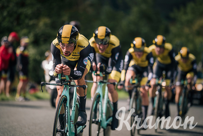 Team LottoNL-Jumbo putting in a solid ride; enough to win the stage and propell Primoz Roglic (SVK/LottoNL-Jumbo) into the GC-lead<br /> <br /> Time Trial through the magnificent Lake District National Park in Cumbria<br /> <br /> Stage 5 (TTT): Cockermouth to Whinlatter Pass (14km)<br /> 15th Ovo Energy Tour of Britain 2018