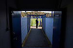 Lancaster City 0 FC Halifax Town 3, 15/10/2011, Giant Axe, FA Cup Third Qualifying Round. A member of the Lancaster City committee waiting for players to arrive outside home dressing room prior to the club's FA Cup third qualifying round match against FC Halifax Town at Giant Axe, Lancaster. The visitors, who play two leagues above their hosts in the English football pyramid, won the ties by three goals to nil, watched by a crowd of 646 spectators. Lancaster City were celebrating their centenary in 2011, although there was a dispute over the exact founding date over the club known as Dolly Blue. Photo by Colin McPherson.