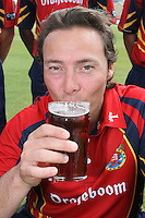 Graham Napier of Essex CCC enjoys a sip of beer - Essex CCC Press Day at the Ford County Ground, Chelmsford, Essex - 03/04/12 - MANDATORY CREDIT: Gavin Ellis/TGSPHOTO - Self billing applies where appropriate - 0845 094 6026 - contact@tgsphoto.co.uk - NO UNPAID USE.
