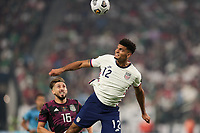 LAS VEGAS, NV - AUGUST 1: Miles Robinson #12 of the United States during a game between Mexico and USMNT at Allegiant Stadium on August 1, 2021 in Las Vegas, Nevada.
