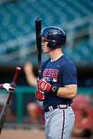 Mississippi Braves Stephen Gaylor (2) during batting practice before a game against the Montgomery Biscuits on April 24, 2017 at Montgomery Riverwalk Stadium in Montgomery, Alabama.  Montgomery defeated Mississippi 3-2.  (Mike Janes/Four Seam Images)