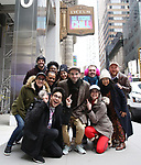 "Joe Iconis with Gerard Canonico, George Salazar, Jason Tam, Stephanie Hsu, Tiffany Mann, Talia Suskauer, Katlyn Carlson, Troy Ivvata, Joel Waggoner, Britton Smith, Morgan Siobhan Green,  Jason Sweettooth Williams with The Cast during the Theatre Marquee unveiling for ""Be More Chill"" on January 17, 2019 at the Lyceum Theatre in New York City."